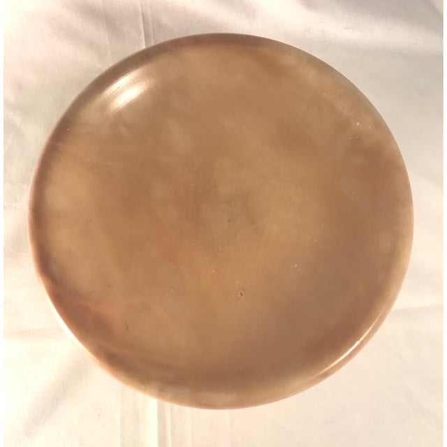 Vintage 1930s Italian Alabaster Footed Bowl Pedestal Dish Centerpiece For Sale - Image 4 of 8