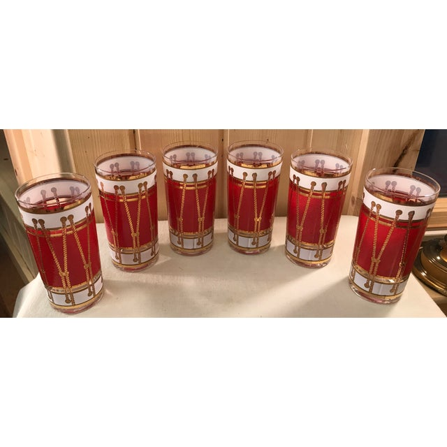 Mid-Century Modern Red Gold & White Highball Cocktail Glasses - Set of 6 - Image 3 of 9