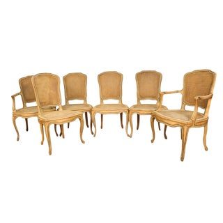 Six French Painted Caned Rococo Style Dining Chairs For Sale