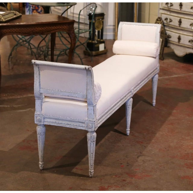 Wood 19th Century French Louis Philippe Carved and Painted Banquette With Back For Sale - Image 7 of 9