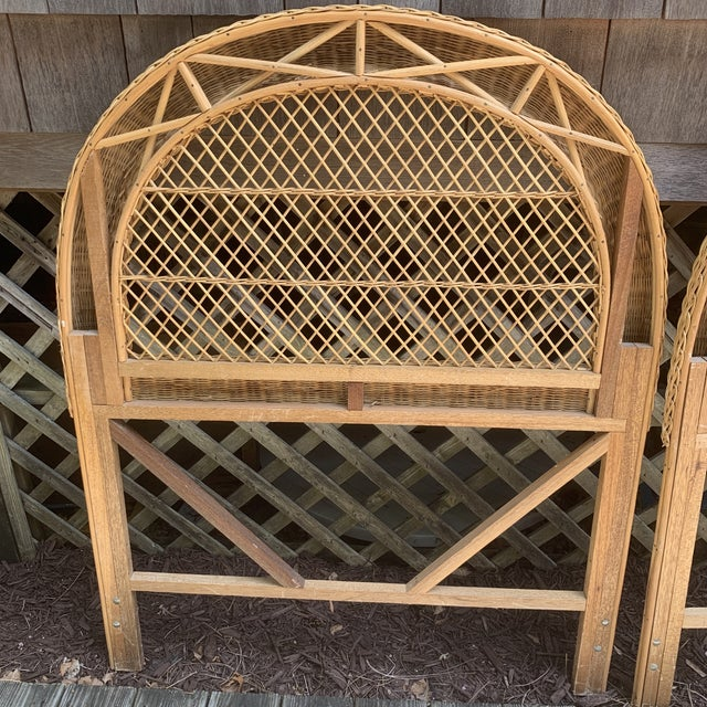 Late 20th Century Vintage Wicker Headboards- a Pair For Sale - Image 5 of 13