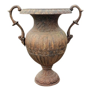Circa 1890 Kramer Bros. Cast Iron Raised Floral Motif Baluster Urn Made in Dayton, Ohio For Sale