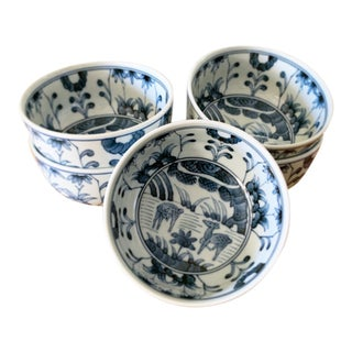 Blue and White Asian Forest Design Bowls, Set of Five For Sale