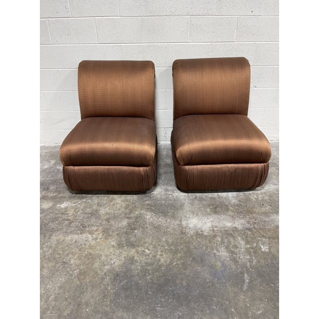 1990s Copper Silk Shantung Rolled Back Slipper Chairs-A Pair For Sale - Image 5 of 12