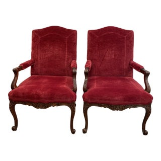 Baker French Provencial Red Velvet Bergere Chairs - a Pair For Sale