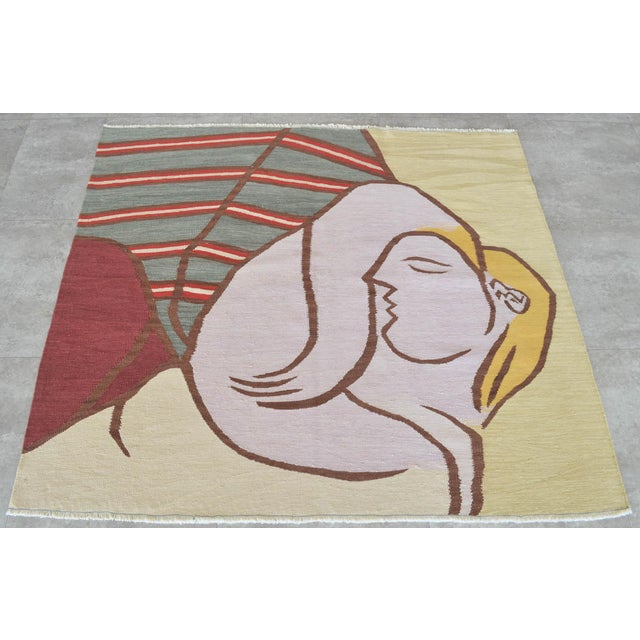 Pablo Picasso Picasso - Woman With Yellow Hair Inspired Hand Woven Area Rug Wall Rug Kilim - 4′6″ × 5′ For Sale - Image 4 of 11