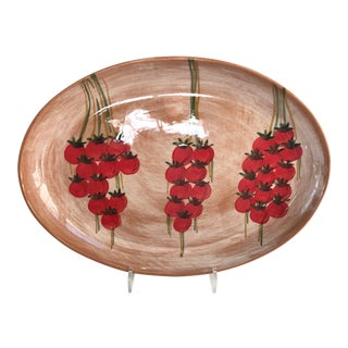 Large Vintage Hand-Painted Italian Red Tomatoes Serving Platter For Sale