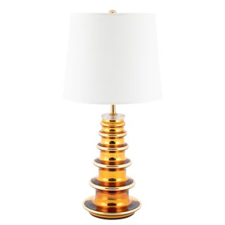 1960s Johansfors Glasbruk of Sweden Gold Mercury Glass Totem Table Lamp For Sale