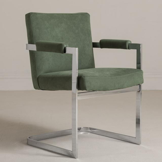 A Set of Six Nickel Plated Cantilever Armchairs 1970s Upholstered in a Jade Green Alcantara NB: These items are subject to...
