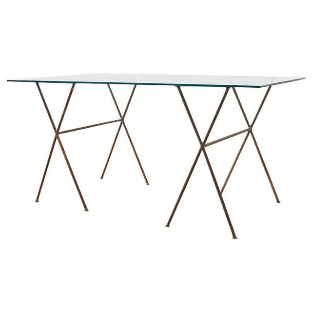 Midcentury Glass Table With Iron X Form Sawhorse Legs For Sale - Image 13 of 13