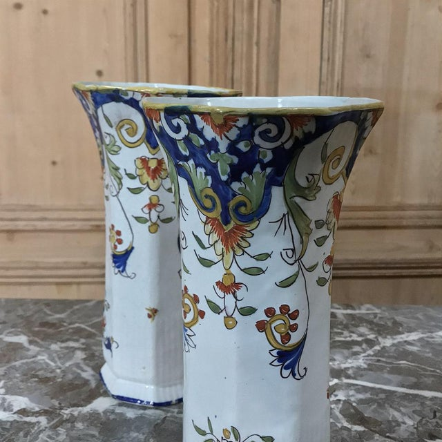 Country Pair 19th Century French Colorful Hand-Painted Faience Vases From Normandy For Sale - Image 3 of 12