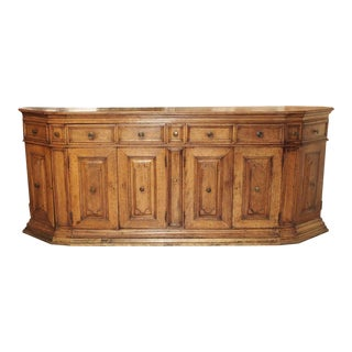 Large Antique Walnut Wood Credenza From Tuscany Italy, 17th Century For Sale