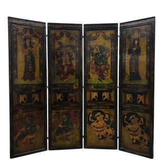 Antique Tibetan Painted Wooden Panel Screen/Room Divider For Sale