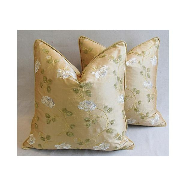 """24"""" Custom Tailored Embroidered White Rose Silk Feather/Down Pillows - Pair For Sale - Image 11 of 12"""