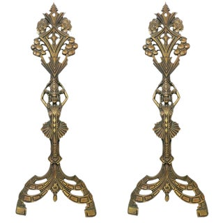 Egyptian Revival Art Deco Fireplace Andirons - A Pair For Sale