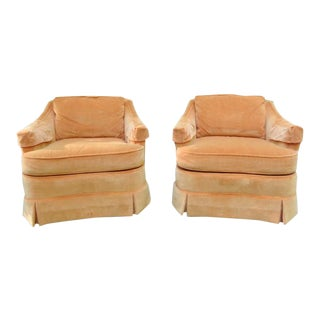 1970s Vintage Drexel Heritage Compact Club Chairs- A Pair For Sale