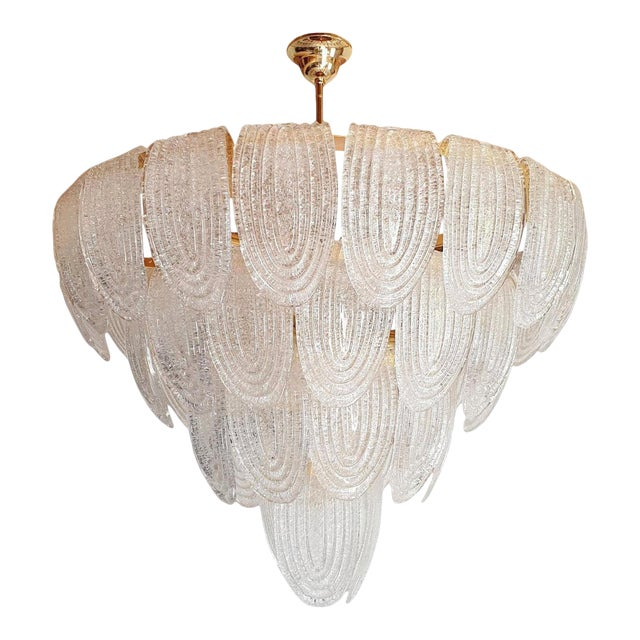 Large Mid Century Modern Clear Murano Glass Chandelier, Mazzega Style, Italy 1970s For Sale