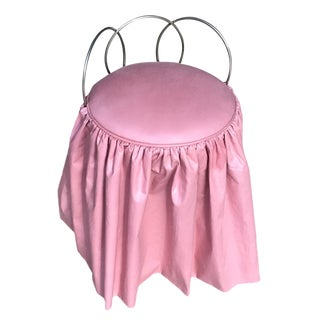 Vintage Metal Vanity Stool W/ Pink Cushion & Skirt For Sale