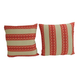 Pair of Vintage Red and Natural Woven Stripes Decorative Pillows For Sale
