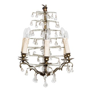 Antique Swedish Crystal Christmas Tree Chandelier For Sale