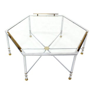 Chrome Brass Glass Hexagon Coffee Table Maison Jansen For Sale