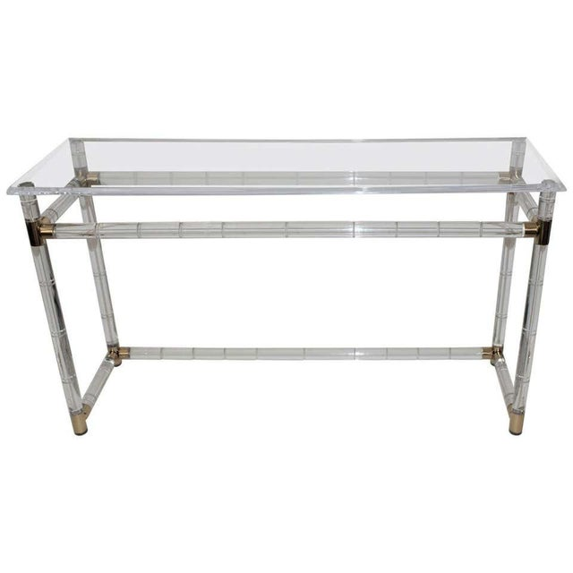 Lucite and Brass Console Table by Charles Hollis Jones For Sale - Image 12 of 13