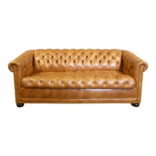 Vintage Mid Century Leather Chesterfield Tufted Sofa Sleeper For Sale