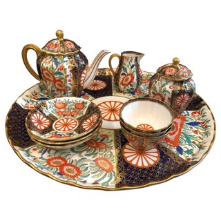 Fine Royal Worcester Porcelain Tea Service 1881, Imari, English, Tray For Sale