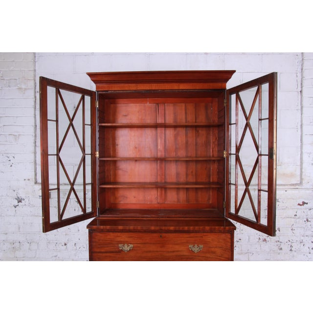 English Traditional English George III Style Mahogany and Cherry Drop Front Secretary Desk With Bookcase, Circa 1870 For Sale - Image 3 of 13