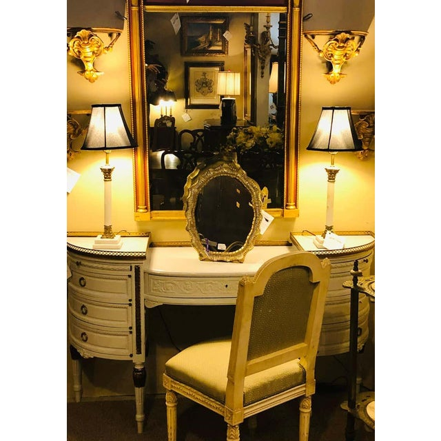 Paint Louis XVI Style Ladies Vanity / Writing Desk in Dove Gray Lacquer For Sale - Image 7 of 13