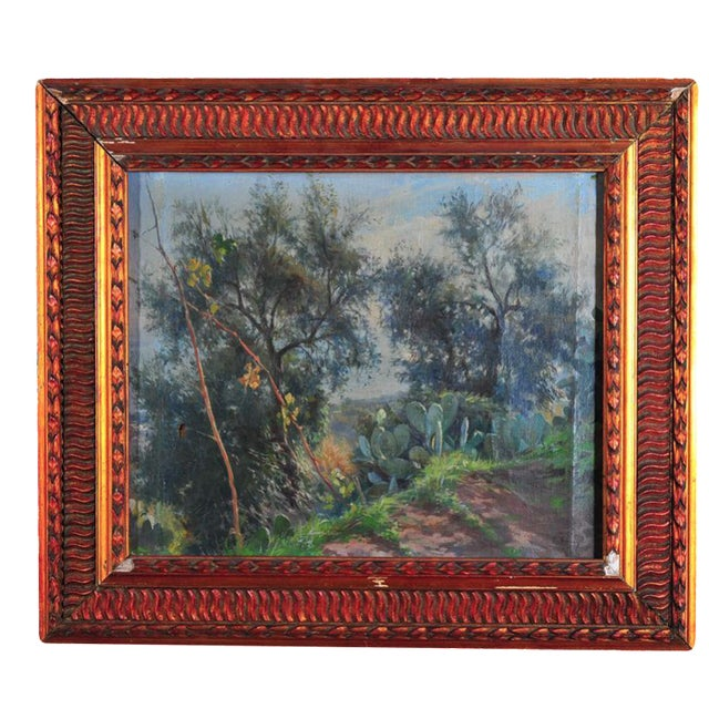 "Sicilian countryside landscape original c. 1900s oil painting on canvas by Nicola Biondi. Oil on Canvas size about 20x24""...."