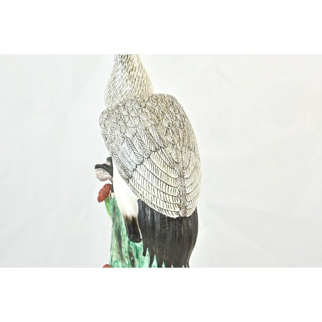 Early 20th Century Hand Painted Chinese Crane Statue For Sale - Image 5 of 7