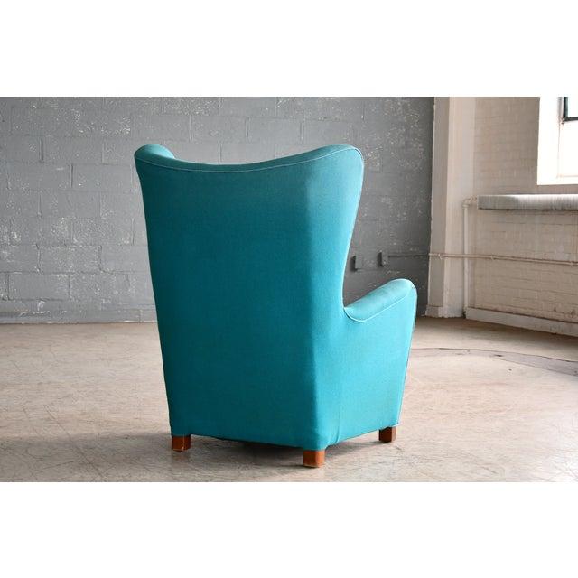Blue Fritz Hansen Model 1672 High Back Lounge Chair Danish Mid-Century, 1940s For Sale - Image 8 of 11