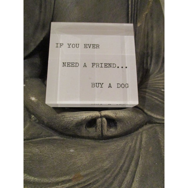 'If You Ever Need a Friend...' Lucite Paperweight 1970s Mid Century Modern - Image 7 of 7