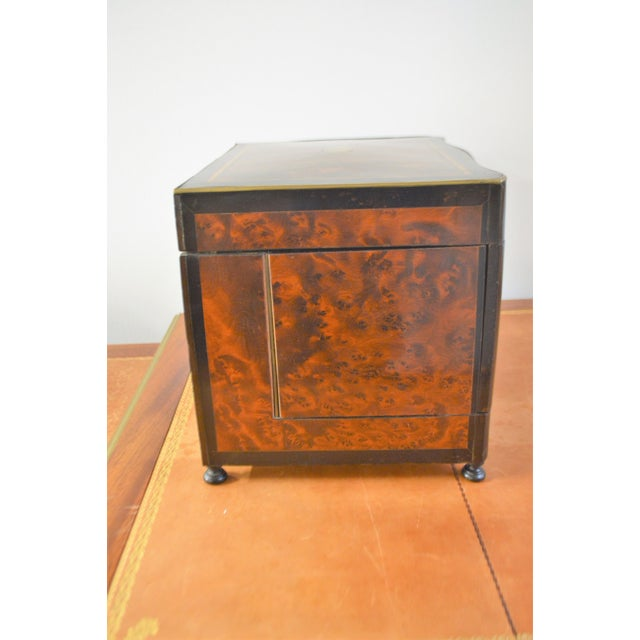 Gold 19th Century Portable Bar With the Origianal Etched Crystals Decanters and 14 Sherry Glasses Sitting in a Rosewood Box. For Sale - Image 8 of 11