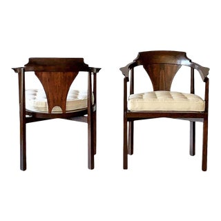 Edward Wormley Horseshoe Armchairs, a Pair, 1950's For Sale