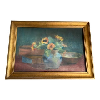 """Early 20th Century French Pastel on Board """"Still Life Study"""" Artist Signed For Sale"""