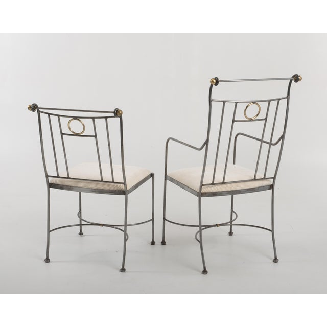 Metal 1970s Italian Mid-Century Steel Brass Dining Chairs - Set of 8 For Sale - Image 7 of 13