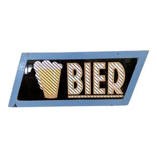 C. 1950s Dutch Steel/Glas Set of Corrugated Foil Parallelogram Beer Sign For Sale