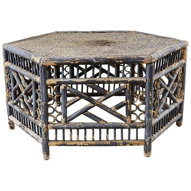Hexagonal Bamboo Brighton Chinese Chippendale Cocktail Table For Sale - Image 13 of 13