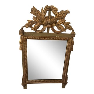 18th Century Louis XVI Style Carved Giltwood Mirror For Sale