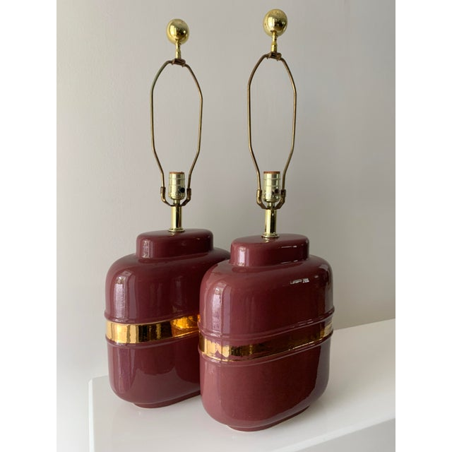 Modern 1980's Modern Abstract Form Mauve and Gold Lamps - a Pair For Sale - Image 3 of 12