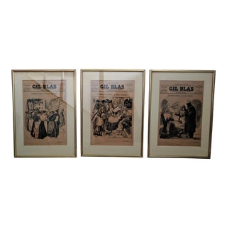 Gil Blas Parisian Periodical Framed Pages - Set of 3