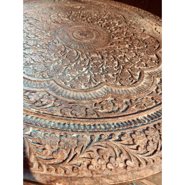 20th Century Moroccan Heavily Carved Folding Table For Sale - Image 4 of 7