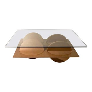 Modern White Wood and Glass Coffee Table For Sale