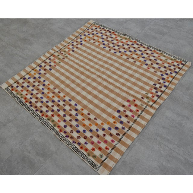 Vintage Hand Woven Kilim Rug. Turkish Cotton Kilim Sofreh Deco Rug - 4′11″ X 5′1″ For Sale - Image 10 of 11