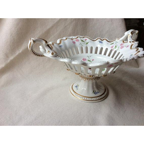 French Rare Antique Rockingham Brameld Pedestal Dessert Bowl C.1820 For Sale - Image 3 of 9