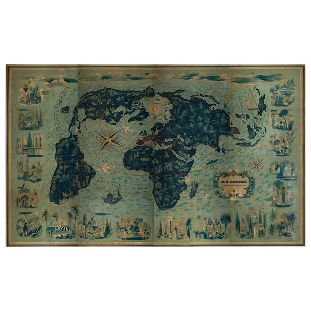 Not Yet Made - Made To Order Four Reproduction Vintage Panels of Air France World Map For Sale - Image 5 of 5
