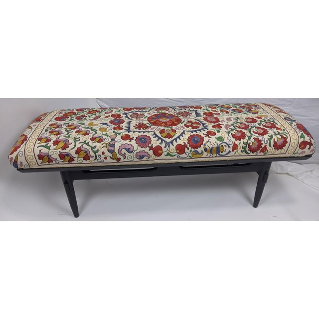 Antique Suzani Upholstered Bench For Sale - Image 9 of 9
