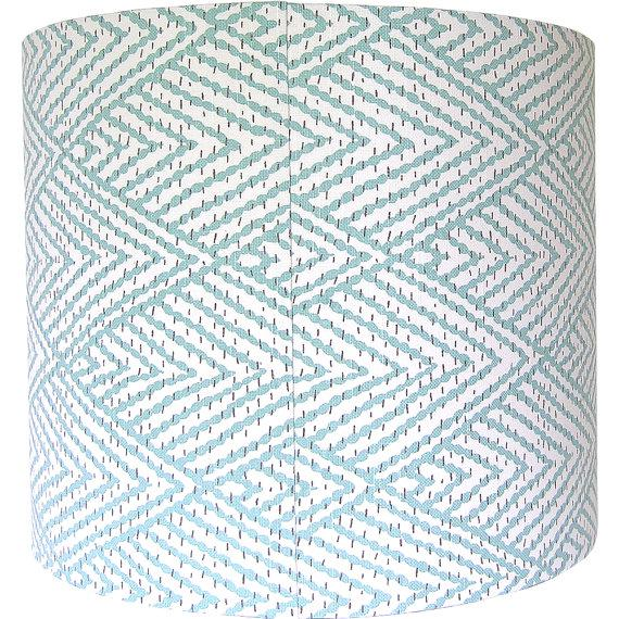 Large Lacefield Designs Tahitian Stitch Aqua Custom Drum Lamp Shade For Sale - Image 4 of 4